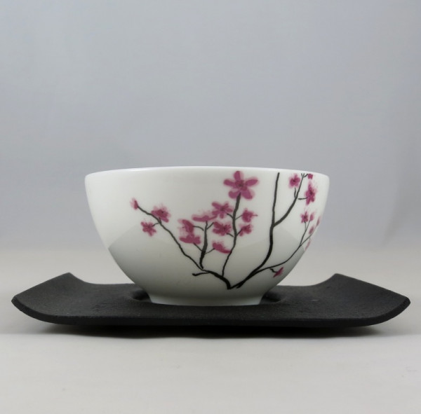 Teeschale Cherry Blossom mit Gussuntersetzer