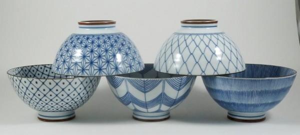 Japanischer Tee- oder Reisschalen - Set mit 5 Dekors